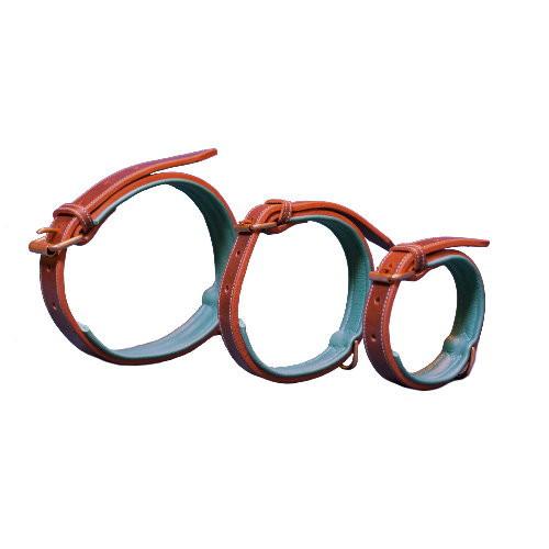 Collier Chien en Cuir - Fait à la main - Turquoise